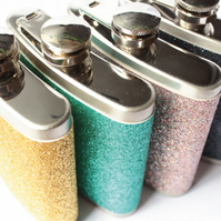 Glitter Hip Flasks - Choose From Four Colours - Bridesmaids Gift - Party Gift