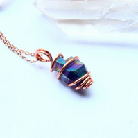 Amethyst Necklace Copper Wire Wrapped