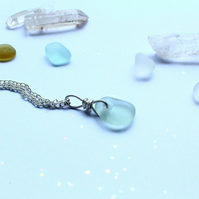 Sea GlassPendant Necklace With Silver Wire Wrapping