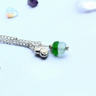 Nautical Sea Glass and Silver Necklace With Ammonoid Charm