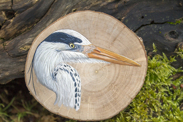 Original grey heron painting on a slice of hazel wood.