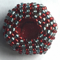 Becky beaded button in red and dark silver