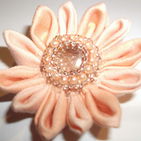 Peach calendula brooch