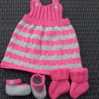 Pinafore, bootees and shoes set, 0 - 3 months
