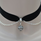 Black Velvet Ribbon Choker With Filigree Heart Chain Charm - 30 Colours