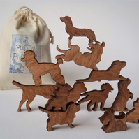 Puppy Pile-Up Dog!  Bag of twelve miniature wooden dogs.