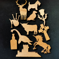 Scotland in your Pocket!  Ten miniature wooden Scottish icons.
