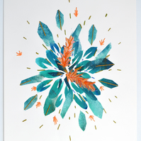 Flower Burst hand stitched and printed