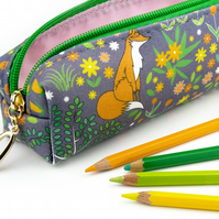Pencil Case In Exclusive Punto Belle Designed Fabric 'Foxes'