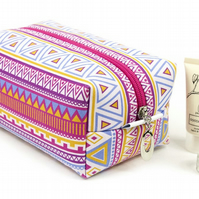 Large Makeup Bag In Exclusive Punto Belle Designed Fabric 'Candy Crush'