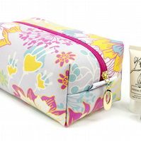Large Makeup Bag In Exclusive Punto Belle Designed Fabric 'Sunshine'