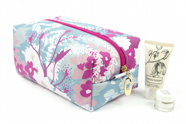 Large Makeup Bag In Exclusive Punto Belle Designed Fabric 'Waves'