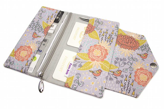 Family Travel Organiser In Exclusive Punto Belle Fabric 'Birds'