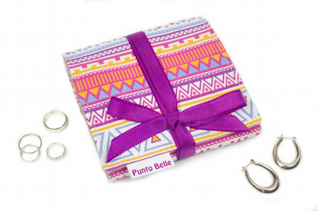 Mini Jewellery Roll In Exclusive Punto Belle Fabric 'Candy Crush'