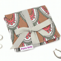 Mini Jewellery Roll In Exclusive Punto Belle Fabric 'Berry'