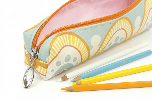 Pencil Case In Exclusive Punto Belle Designed Fabric 'Honey'