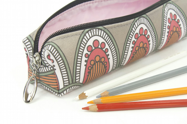 Pencil Case In Exclusive Punto Belle Designed Fabric 'Berry'