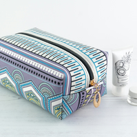 Large Makeup Bag In Exclusive Punto Belle Designed Fabric 'Eco'