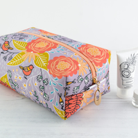 Large Makeup Bag In Exclusive Punto Belle Designed Fabric 'Birds'