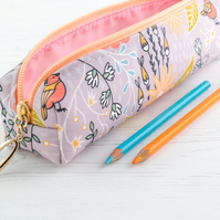 Pencil Case In Exclusive Punto Belle Designed Fabric 'Birds'