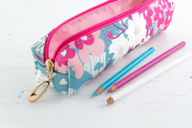 Pencil Case In Exclusive Punto Belle Designed Fabric 'Waves'