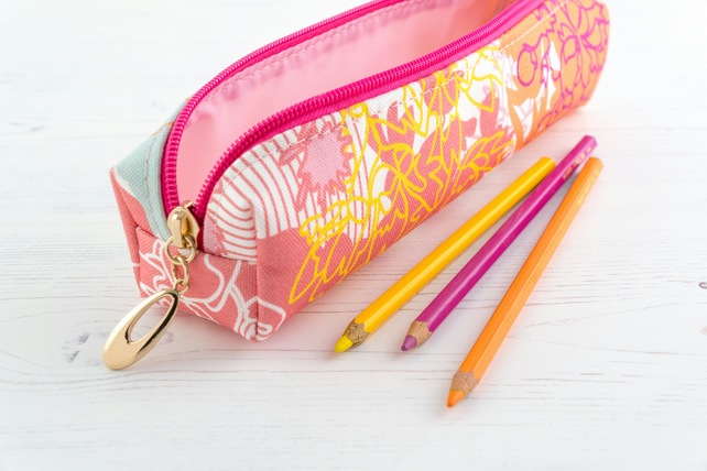 Pencil Case In Exclusive Punto Belle Designed Fabric 'Ice Cream'