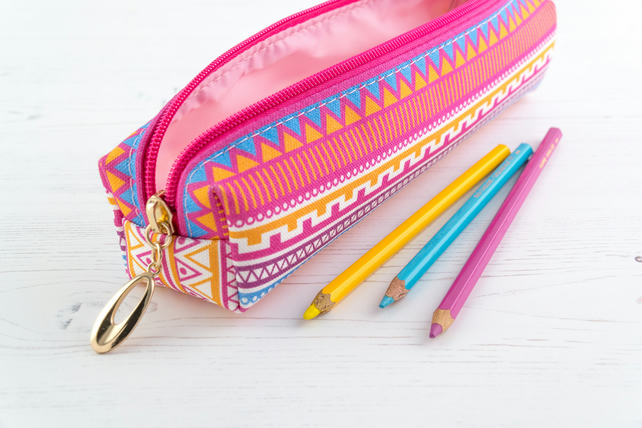 Pencil Case In Exclusive Punto Belle Designed Fabric 'Candy Crush'