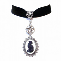 Gothic Cat & Pentagram Black Vevet Choker Necklace