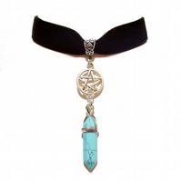 Black Velvet Choker Pentagram & Gemstone Necklace - Blue Turquoise