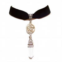 Black Velvet Choker Pentagram & Gemstone Necklace - Clear Quartz
