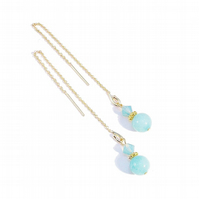 Gold Vermeil Gemstone Long Drop Chain Ear Threads - Aqua Quartz & Crystal