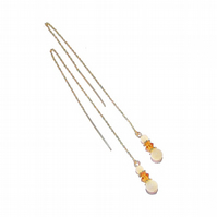 Gold Vermeil Gemstone Long Drop Chain Ear Threads - Honey Quartz & Crystal