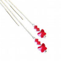 Sterling Silver Swarovski Butterfly Long Drop Chain Ear Threads - Red 174mm