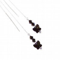 Sterling Silver Swarovski Butterfly Long Drop Chain Ear Threads - Black 174mm