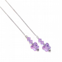 Sterling Silver Swarovski Butterfly Long Drop Chain Ear Threads - Lilac 174mm