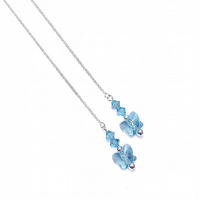 Sterling Silver Swarovski Butterfly Long Drop Chain Ear Threads - Aquamarie