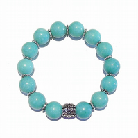 Aqua Quartz Gemstone Handcrafted Stretch Bracelet - 19.5cm