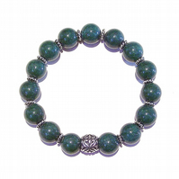 Dark Green Quartz Gemstone & Tibetan Silver-Tone Stretch Bracelet - 20.5cm