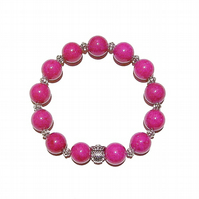 Magenta Quartz Gemstone Handcrafted Stretch Bracelet w An Owl Approx. 21cm