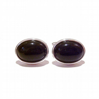 Semi-precious Gemstone Cufflinks - Black Onyx