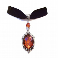 Tarja Black Velvet Gothic Choker Necklace w Swarovski Crystal - Indian Red