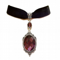 Tarja Black Velvet Gothic Choker Necklace w Swarovski Crystal - Purple