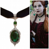 Tarja Black Velvet Gothic Choker Necklace w Swarovski Crystal - Green