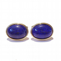 Gold Plated Semi-precious Gemstone Cufflinks - Blue Lapis Lazuli