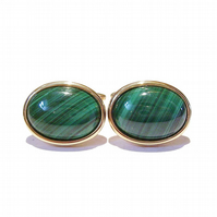 Gold Plated Semi-precious Gemstone Cufflinks - Malachite