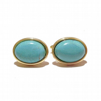 Gold Plated Semi-precious Gemstone Cufflinks - Blue Faux Turquoise