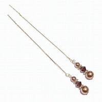 Gold Vermeil, Swarovski Long Drop Chain Ear Threads - Antique Bronze & Mocca