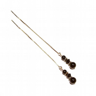 Gold Vermeil, Gemstone Long Drop Chain Ear Threads - Black Onyx & Crystal