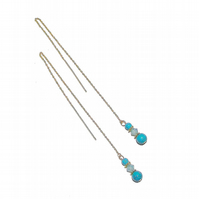 Gold Vermeil Gemstone Long Drop Chain Ear Threads - Turquoise & Crystal
