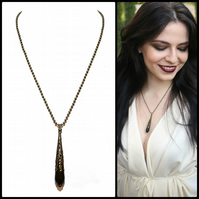 Gothic Black Onyx & Antique Brass Faceted Tear Drop Pendant